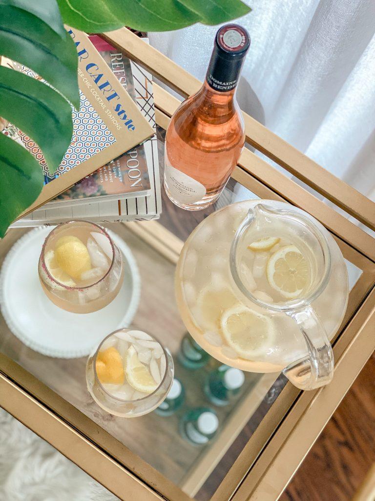 gold barcart featuring rose lemonade