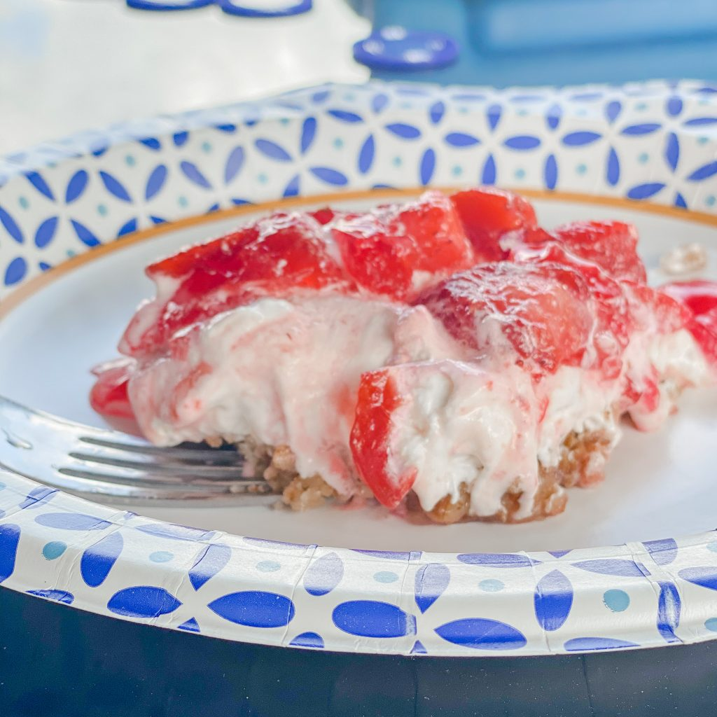 strawberry pretzel jello salad as a bbq side dish