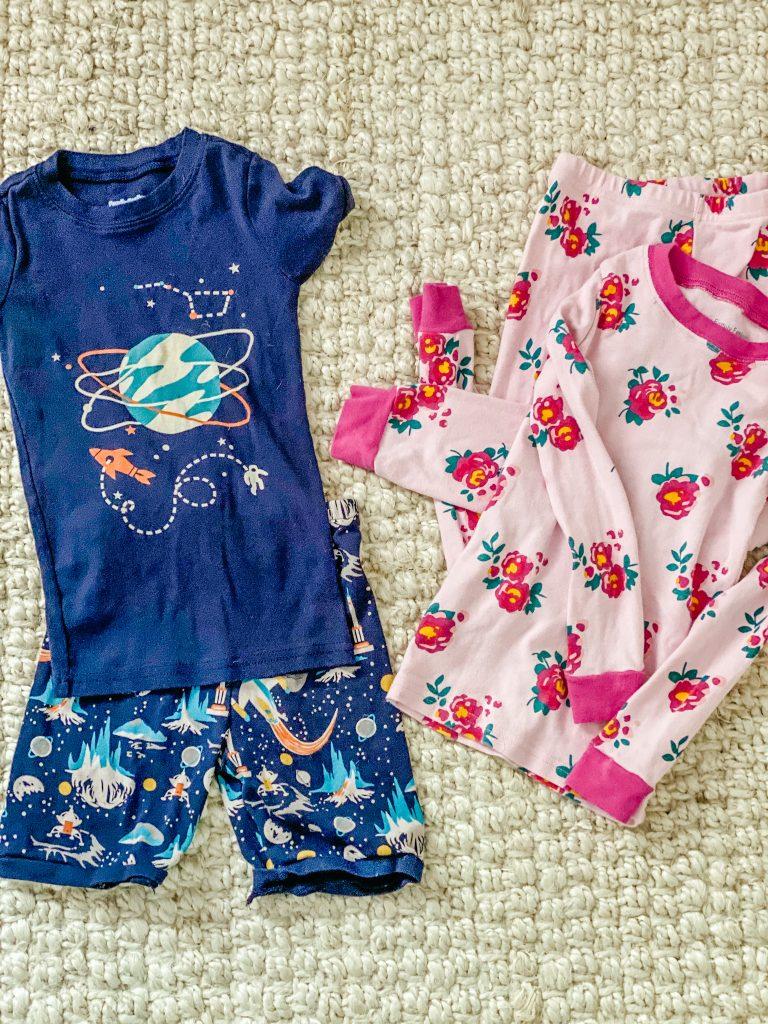 colorful kids pajama sets