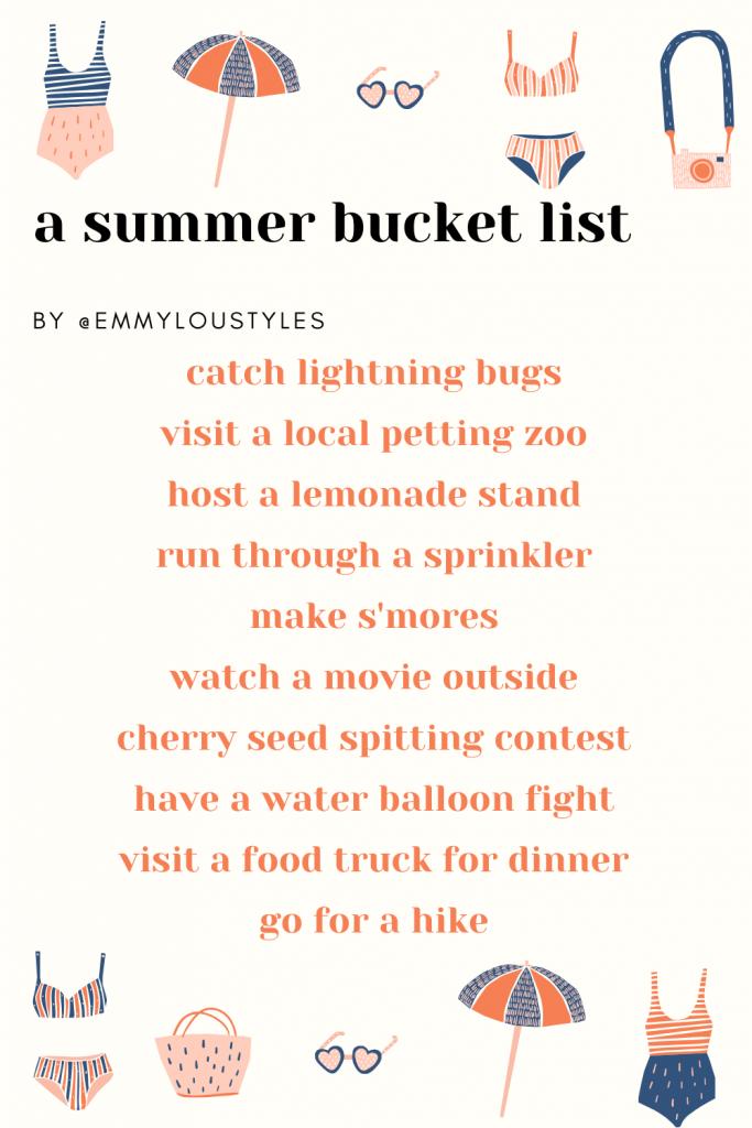 a summer bucket list for kids
