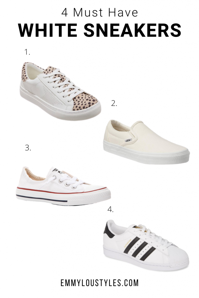 four must have white sneakers