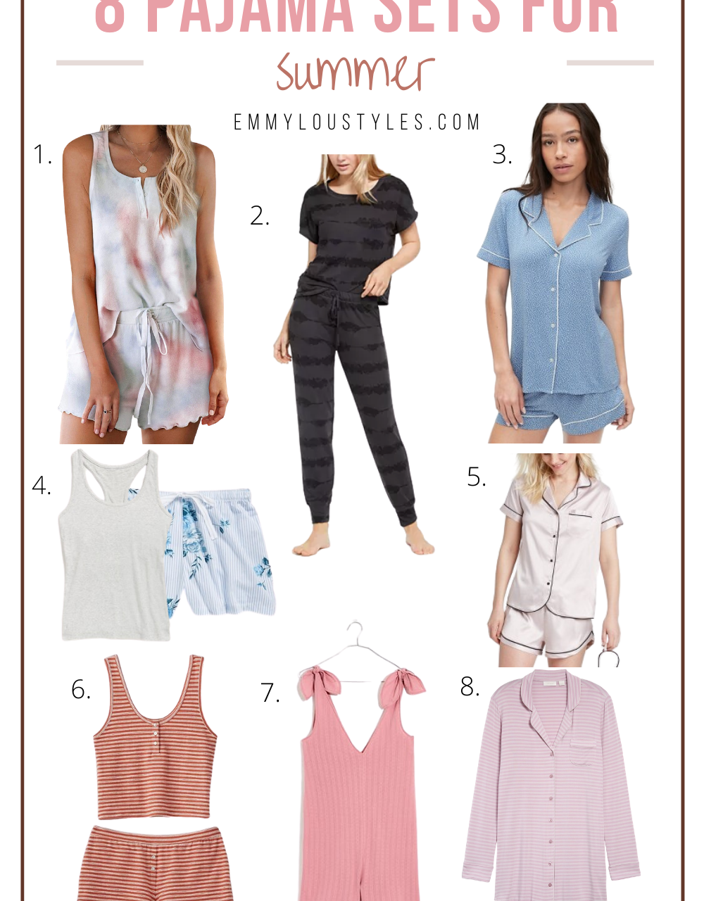 8 Pajama Sets for Summer