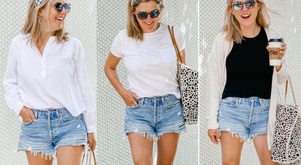Three Ways to Wear Cutoff Jean Shorts in Your 30's
