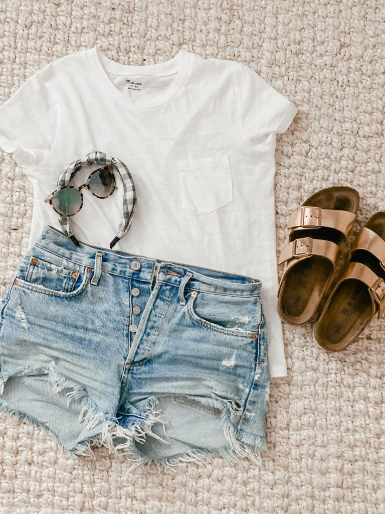 white tshirt and cutoff jean shorts outfit with birkenstocks
