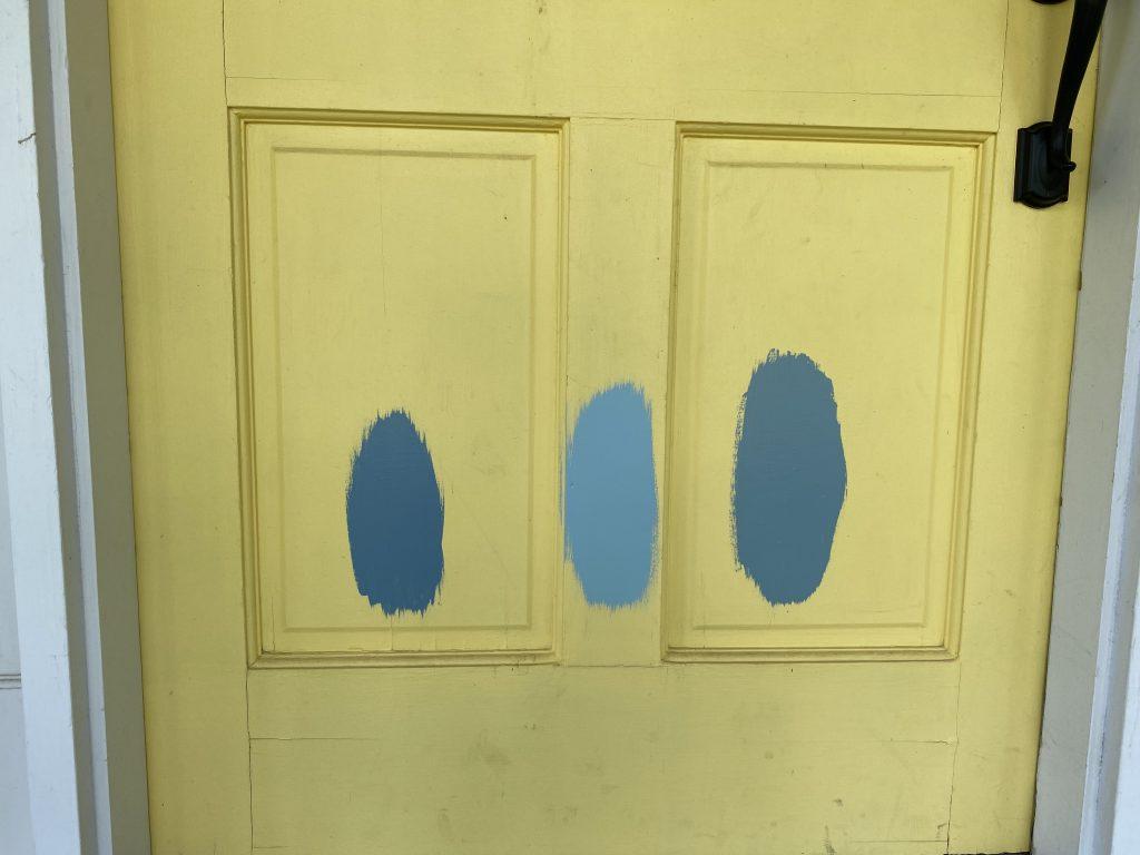 Front door blue paint swatches
