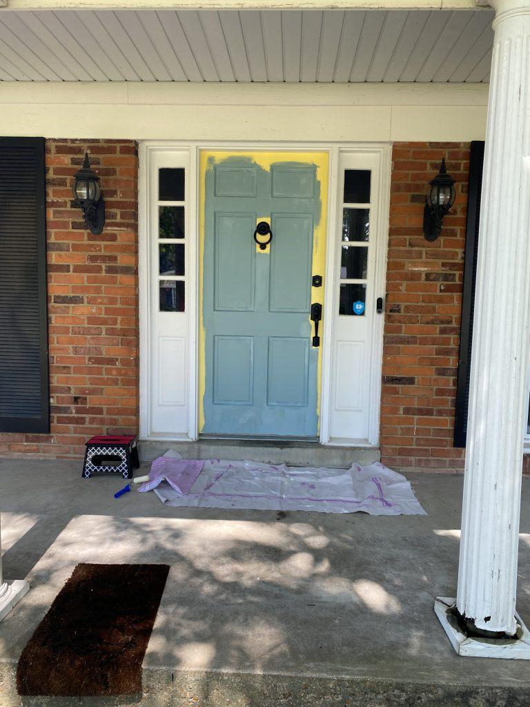 Front door wythe blue paint