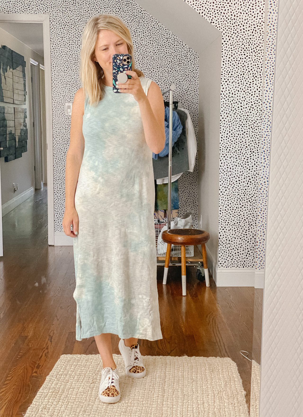how to style white sneakers with a dress
