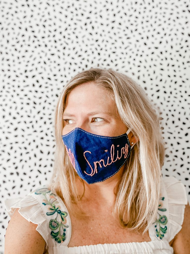 still smiling embroidered denim face mask