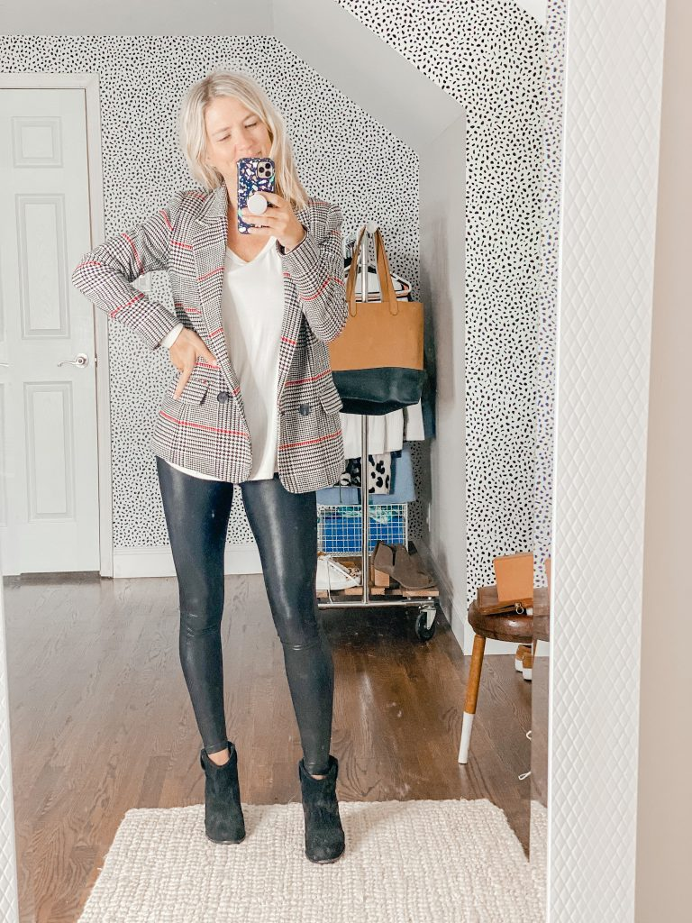 dress up leather leggings with a plaid blazer