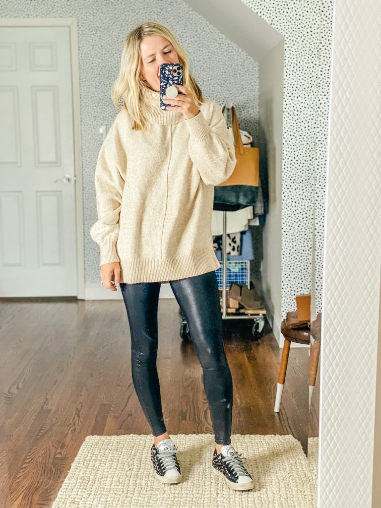 pair your leather leggings with an oversized sweater
