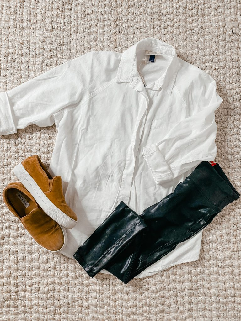faux leather leggings with white oversized button up