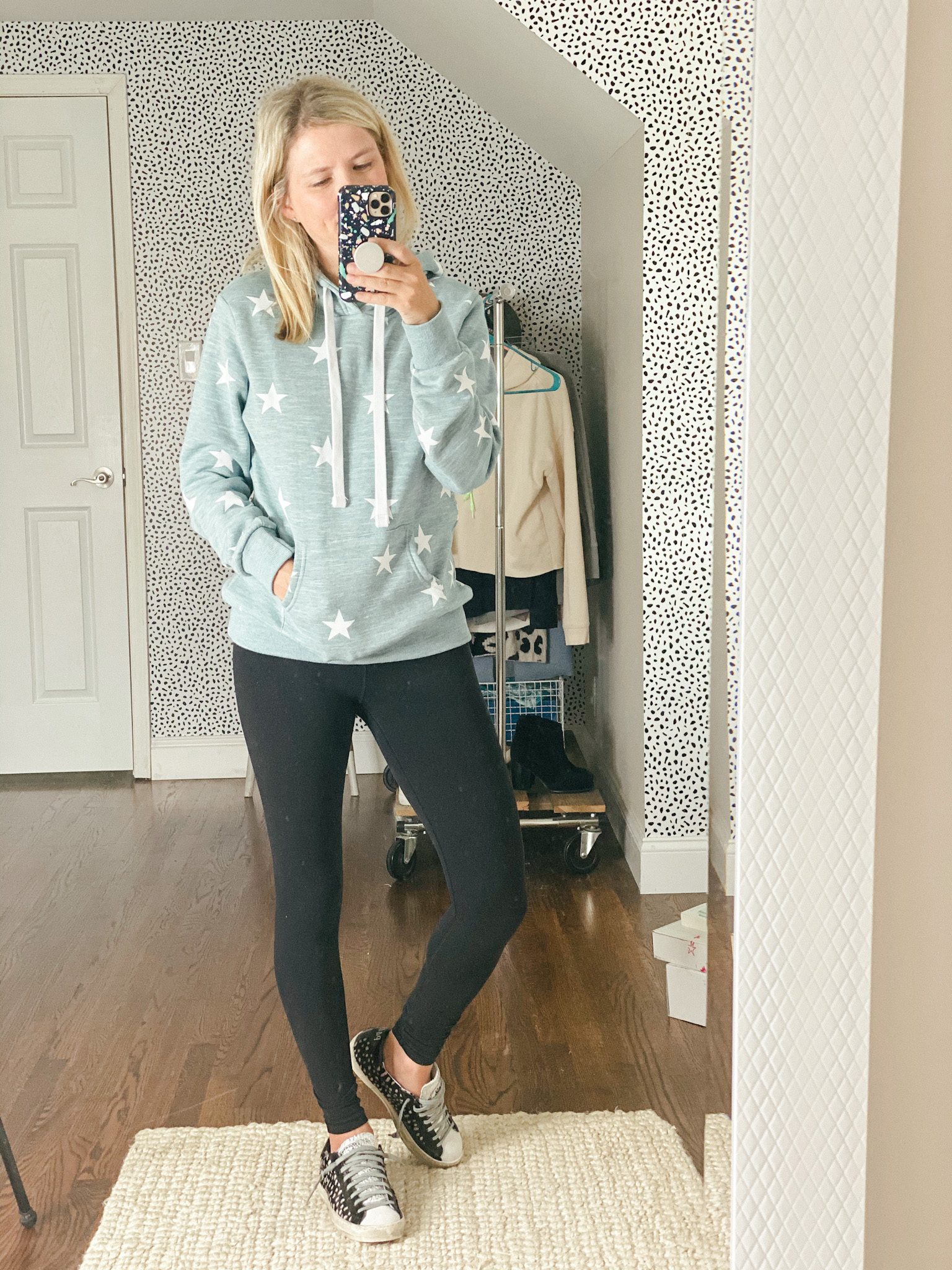 heart print hoodie for women