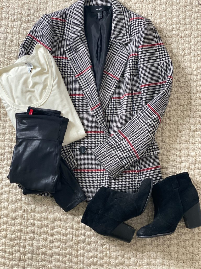 how to wear faux leather leggings with a blazer