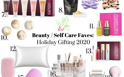 a collage of beauty and self care gift ideas