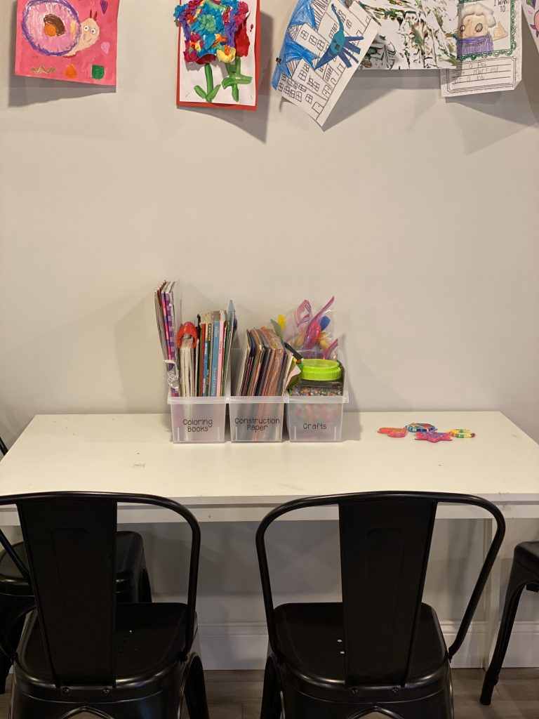 Kids craft table in a playroom