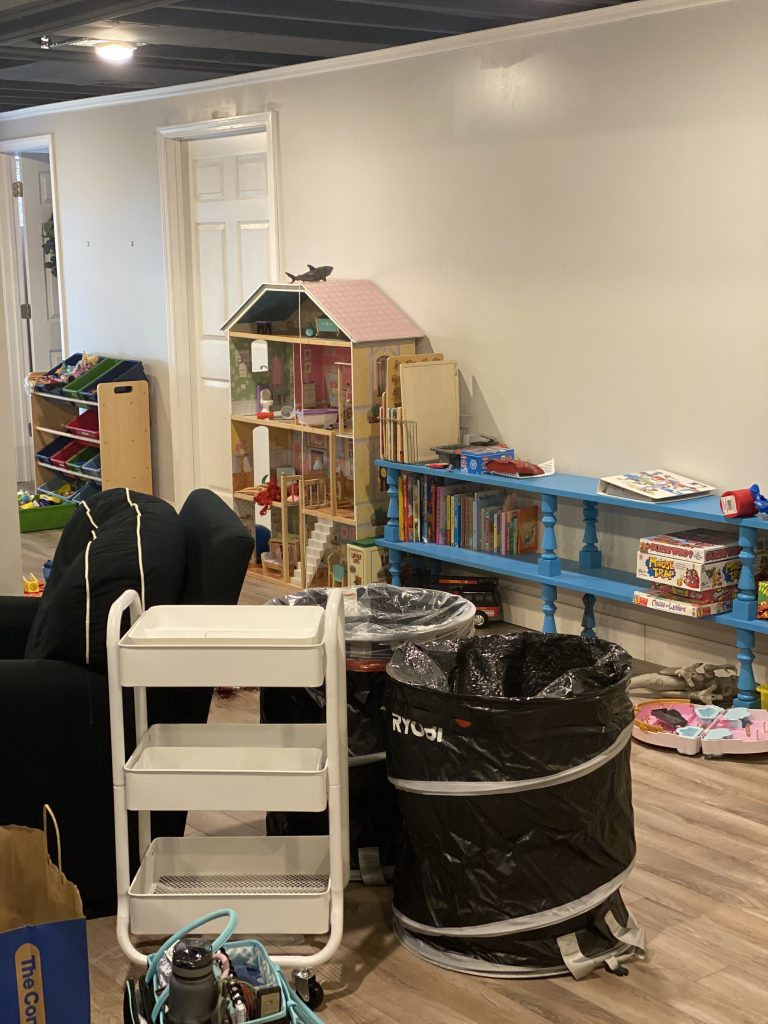 Organization process for kids playroom