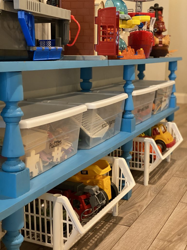 Organized kids playroom with storage bins