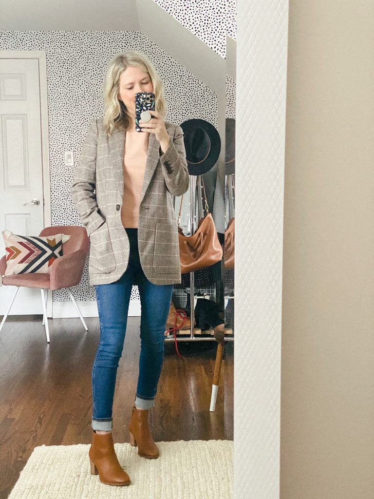 Madewell jeans with a plaid blazer