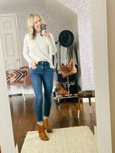 Women wearing Madewell sweater and jeans