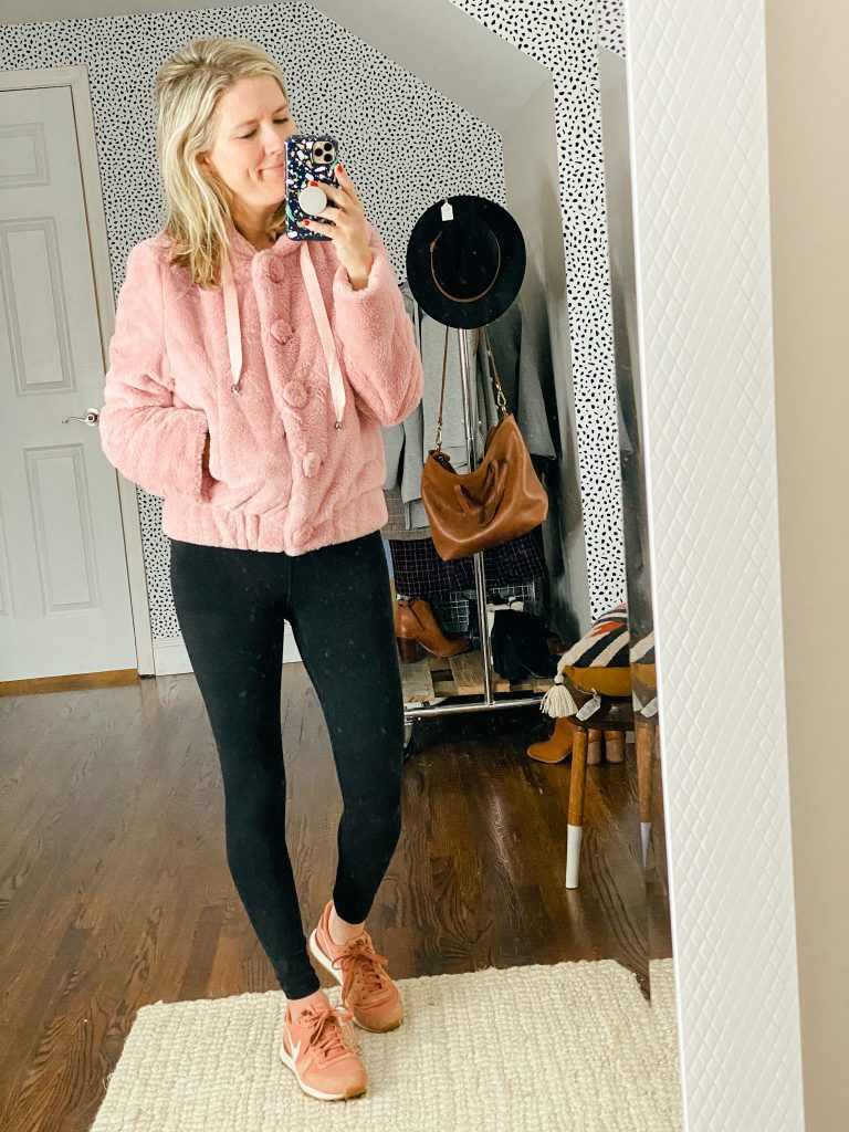 Faux fur pink hoodie jacket for women
