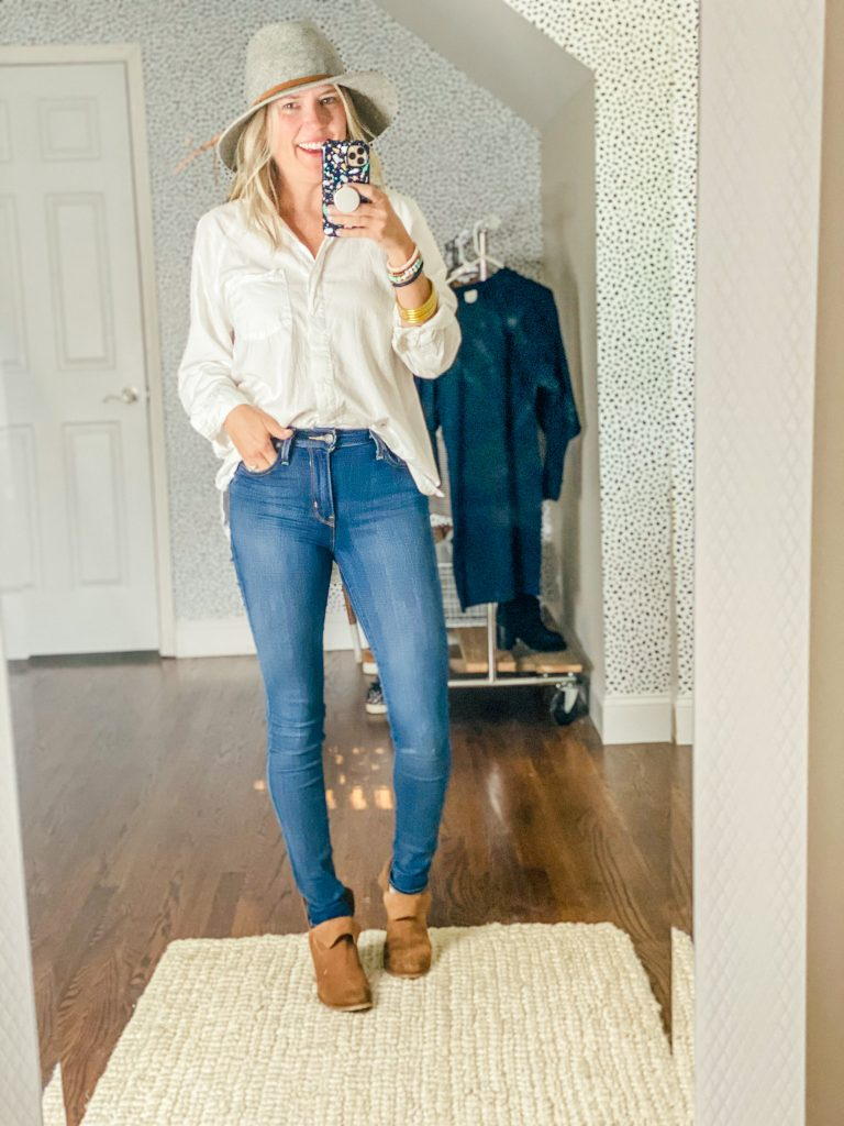 Oversized white button up shirt for women