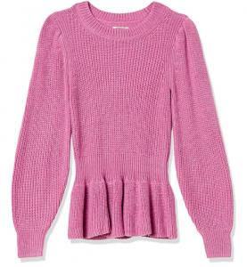 pink peplum sweater for women