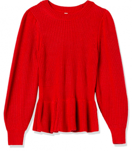 red peplum sweater for women